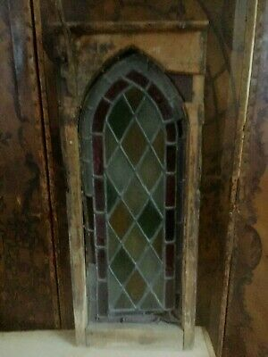Original Antique Church Stained Glass Window Oak  Framed For Restoration