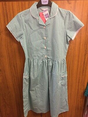 Marks And Spencer M&S Girls Gingham Green School Dress 12-13 Years