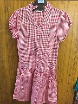 Marks And  Spencer M&S Girls Gingham Red School Summer Dress 2 Pack New 12-13