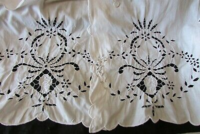 Antique French Beautiful Art Nouveau Cut Work Embroidered curtains drapes