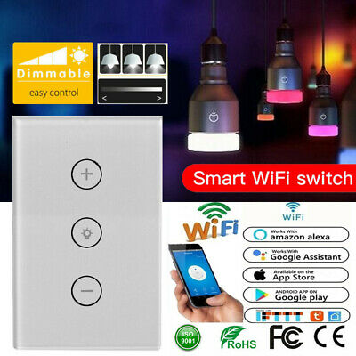 WIFI Smart Dimmer Light Switch Wall Touch Panel Control For Alexa Google Home AU