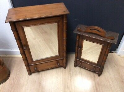 2 French Antique Walnut Apprentice / Childs Armoires Wardrobes Mirrored  Doors
