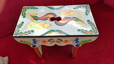 Antique 'Creepie' Milking Stool, Hand Painted in Traditional Folk Art Style