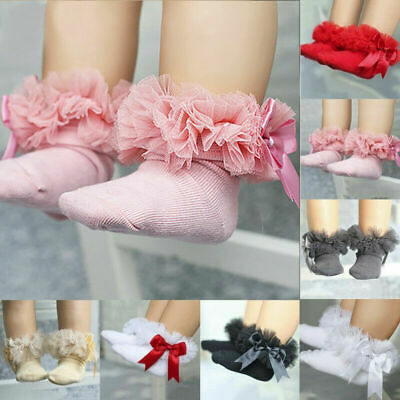 Infant Baby Lace Bowknot Princess Ruffle Sock Ankle Girls Kids Trim Frilly Socks
