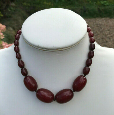 ANTIQUE ART DECO Tested CHERRY AMBER BAKELITE Beads Necklace 38gms