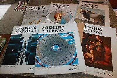Scientific American Magazine lot Of 6 Vintage from 1958 Collectibles