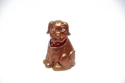 Thimble Pewter & Handpainted Enamel Figural Of Brown Labrador W/Clear Crystals