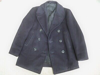 Vintage WWII WW2 US Navy USN Naval Clothing Pea Coat Mens Named 38 Cord Pockets