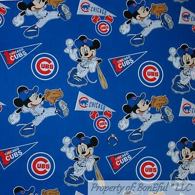 BonEful FABRIC FQ Cotton Quilt MLB Baseball Chicago Cubs Disney Mickey Mouse Boy