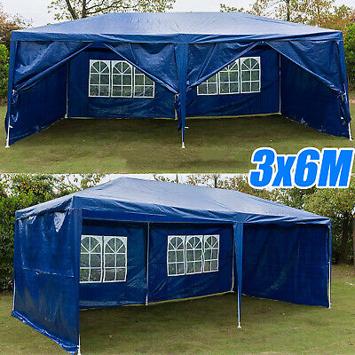 3x6m 6 Sides Marquee Gazebo Tent Garden Party Waterproof Canopy Shelter Windbars