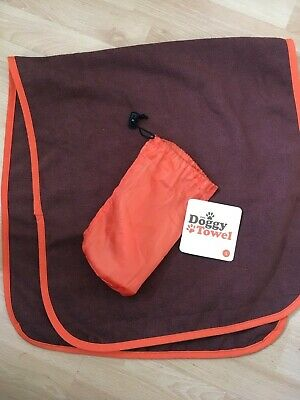BNWT Genuine TMS DOGGY TOWEL size SMALL Brown & Orange The Microfibre Store NEW