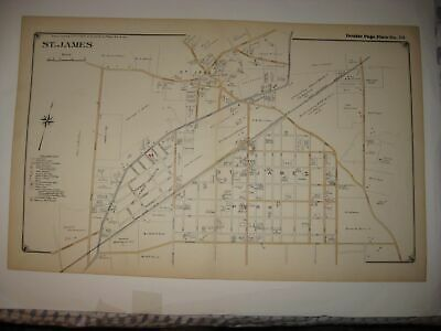 Vintage Antique 1917 St Saint James Suffolk County New York Dated Map Superb Nr