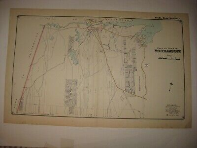 Antique 1916 Southampton Riverhead Long Island New York Handcolored Dated Map Nr