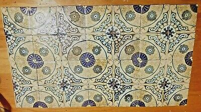 "28 total Vintage Retro Wall Floor Tiles Blue Green Tan Made in Japan  3 1/2"" sq"