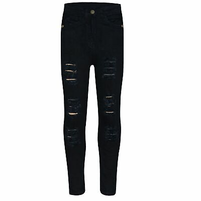 Kids Girls Jet Black Skinny Jeans Denim Ripped Fashion Stretchy Pants Jeggings