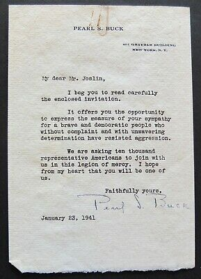 Pearl S. Buck Hand Signed Typed Letter On Personal Stationery January 23, 1941