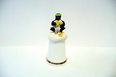 """Thimble Fb China & H/P Pewter Tcc's """"Meet The Penguins"""" Topper Of A Poker Player"""