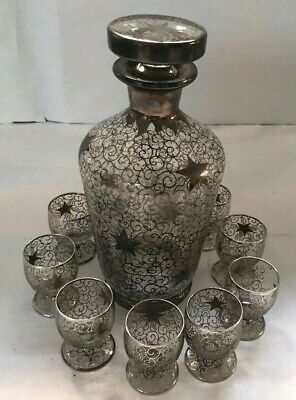 Antique Sterling Silver Overlay Decanter And 10 Shot Glasses Set, France
