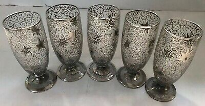 Antique Sterling Silver Overlay 5 Glasses, France