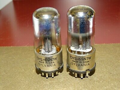 Pair, Sylvania Metal Base CHS 6SN7W Radio/Audio Tubes, Strong on Amplitrex