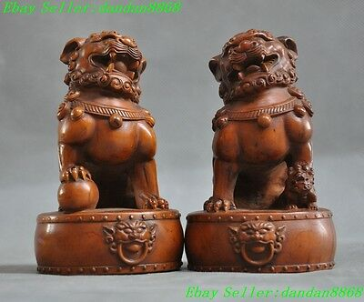old chinese Boxwood wood carved fengshui 3 lion foo dog beast lucky statue pair