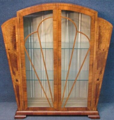 1930s Art Deco Burr And Figured Walnut Arched Top Display Cabinet