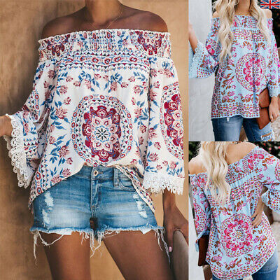 Womens Holiday Printed Top Elastic Off The Shoulder Bell Sleeve Bohemian Blouses