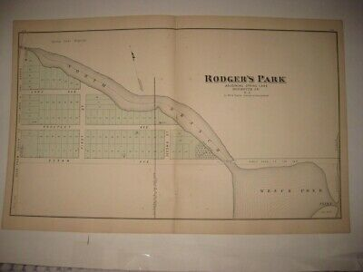 Rare Fine Vintage Antique 1878 Spring Lake New Jersey Handcolored Map Wreck Pond