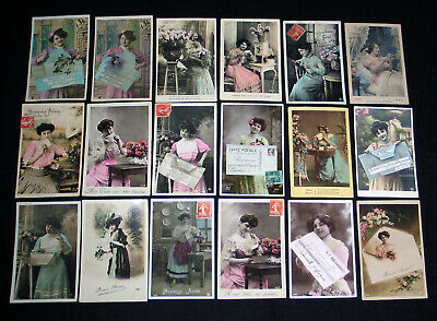 Lot A56 : 18 Cpa Femme Courrier Lettre Telegramme Lady Miss Pin-Up Mode 1900