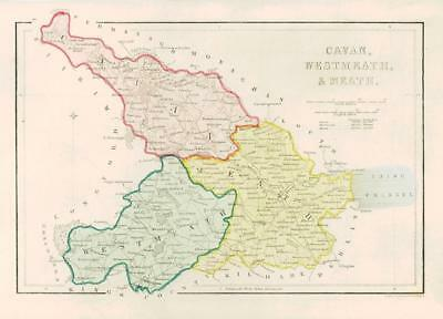 1840 IRELAND - Original Antique Map of CAVAN WEST MEATH & MEATH (005)
