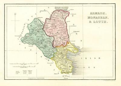 1840 IRELAND - Original Antique Map of ARMAGH, MONAGHAN & LOUTH (006)