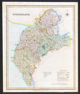 1831 CUMBERLAND Original Antique LARGE COLOURED Map by TEESDALE