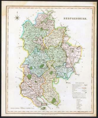 1831 BEDFORDSHIRE - Original Antique LARGE COLOURED Map by TEESDALE