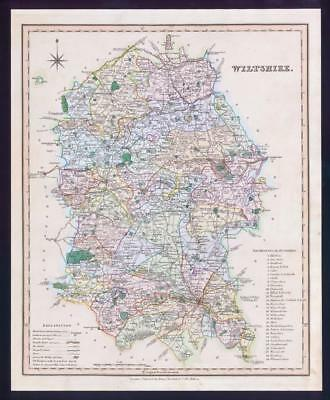 1831 - WILTSHIRE Original Antique LARGE COLOURED Map by HENRY TEESDALE