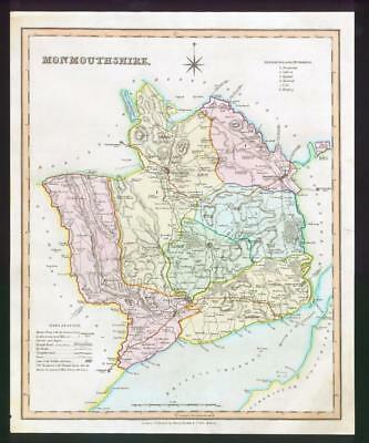 1831 - MONMOUTHSHIRE Original Antique LARGE COLOURED Map by HENRY TEESDALE Wales