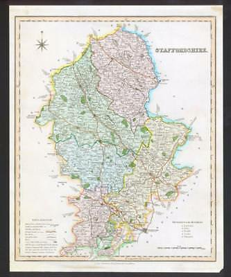 1831 - STAFFORDSHIRE Original Antique LARGE COLOURED Map by HENRY TEESDALE