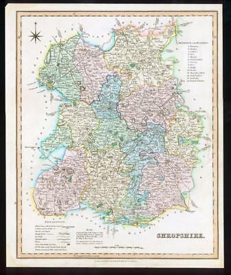 1831 - SHROPSHIRE Original Antique LARGE COLOURED Map by HENRY TEESDALE