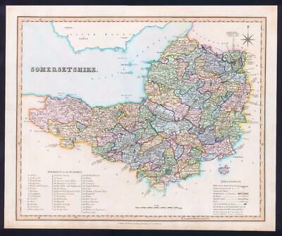 1831 - SOMERSET Original Antique LARGE COLOURED Map by HENRY TEESDALE