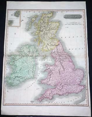 1815 Very Large Original Antique MAP - BRITISH ISLES by Thompson  (LM2)