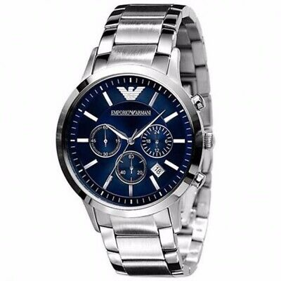 New Emporio Armani Mens Watches AR2448 Gents Silver Stainless Steel Watch
