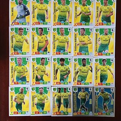 Panini Adrenalyn Xl Premier League 2019/20 Norwich Base/Hero Buy 3 Get 7 Free