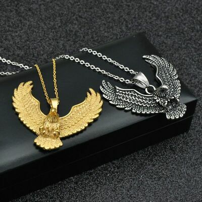 Fashion Stainless Steel Animal Eagle Hawk Wing Pendant Necklace For Men Jewelry