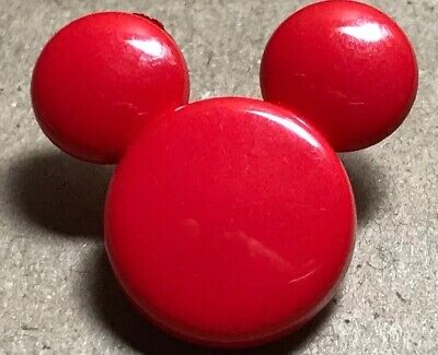 Official Red MICKEY MOUSE Head & Ears Realistic Button BACKMARKED DISNEY KOCHER