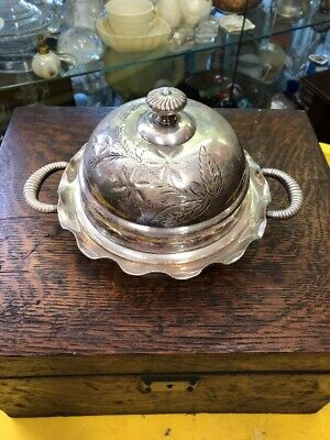 Vintage Antique Victorian Silver Plate Covered Butter Dish