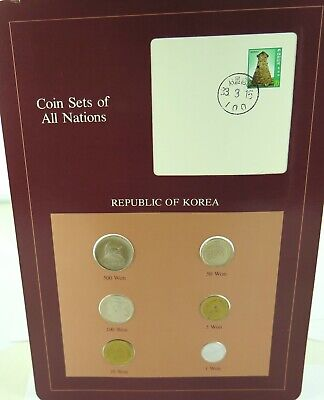 """1983 / 1984 REPUBLIC of KOREA """"COINS OF ALL NATIONS"""" CHOICE UNC 6 COIN SET."""