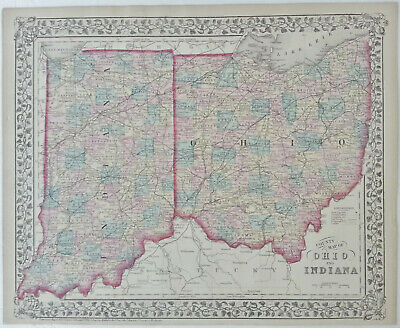 Original Antique Hand Colored 1876 Mitchell County & State Map of Ohio & Indiana