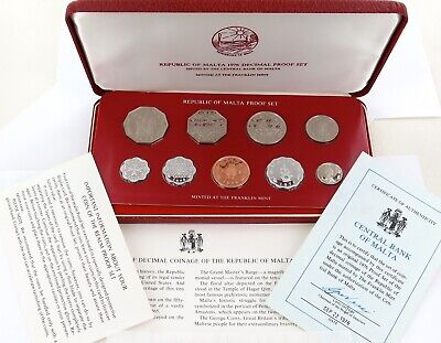 Very Nice 1976 Malta 9 Coin Proof Set + Outer + Papers