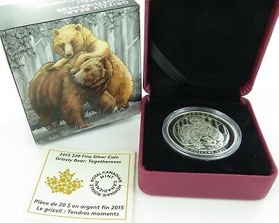 """2015 Canada Canadian $20 .999% Fine Silver Coin. """"Grizzly Bear. Togetherness"""""""
