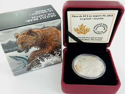 ".2015 Canada Canadian $20 .999% Fine Silver Coin. ""Grizzly Bear. The Catch"""