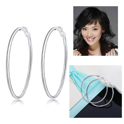 Real Solid 925 Sterling Silver Thin Solid Hoop Earrings Large Big Round Circle